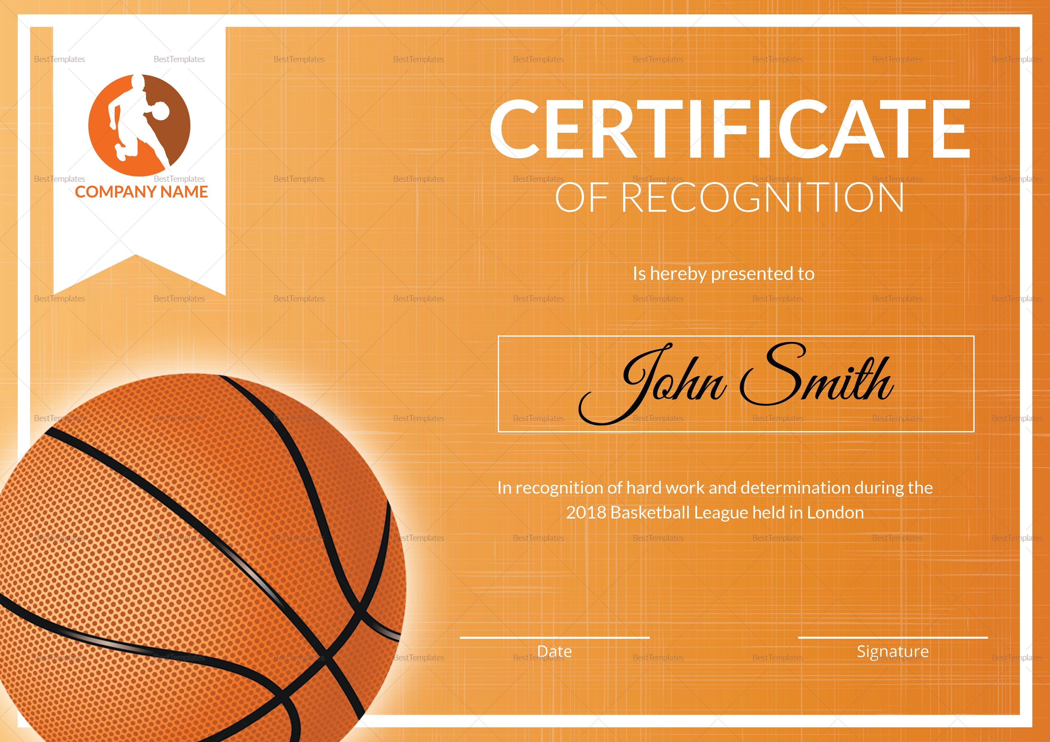 Basketball Recognition Certificate Design Template In Psd Word Pertaining To Basketball Certificate Template