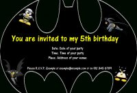 Batman Birthday Invitation Templates Free  Daniels Th Bday regarding Batman Birthday Card Template