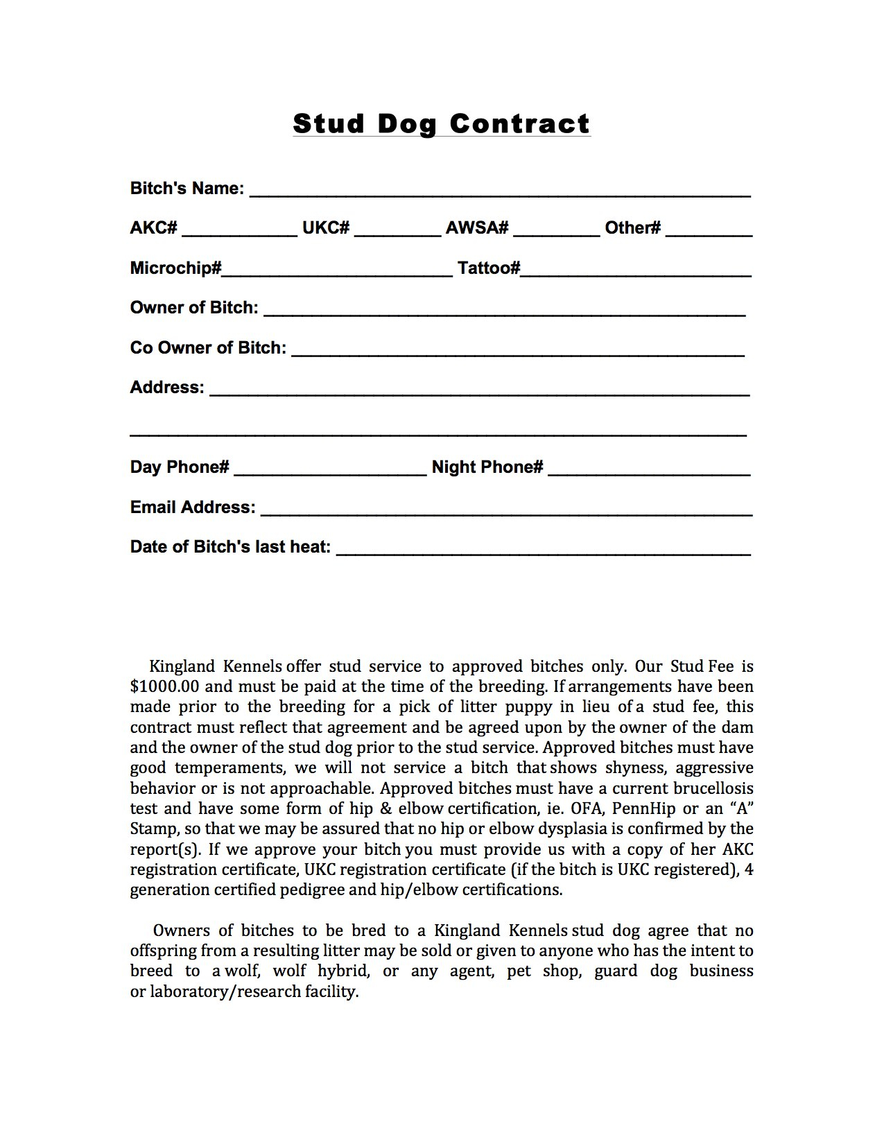 Beaufiful Dog Breeding Contract Template Images Gallery Dog Throughout Stallion Breeding Contract Templates