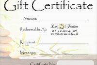 Beautiful Spa Gift Certificate Template Free  Best Of Template regarding Spa Day Gift Certificate Template