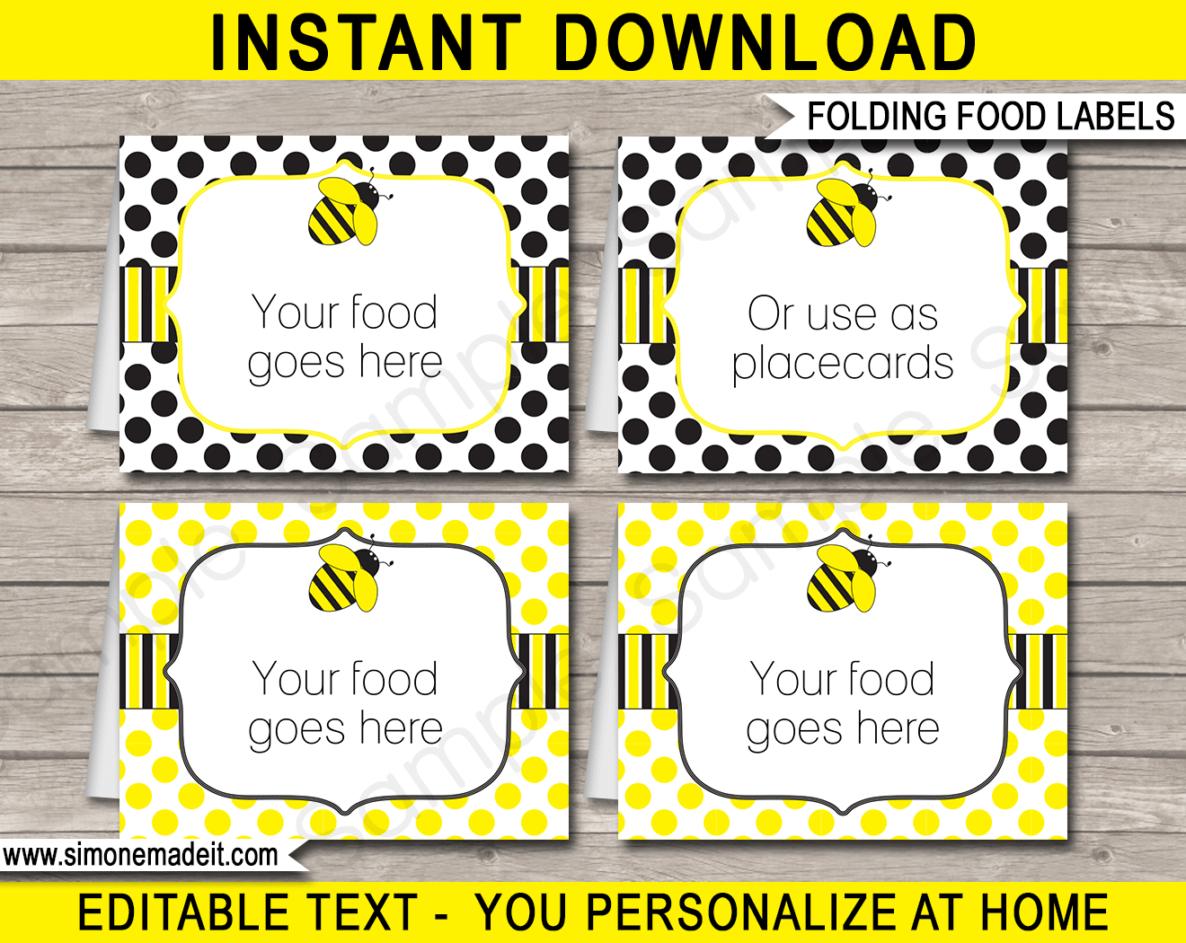 Bee Party Food Labels  Place Cards  Printable  Editable Template Within Food Label Template For Party