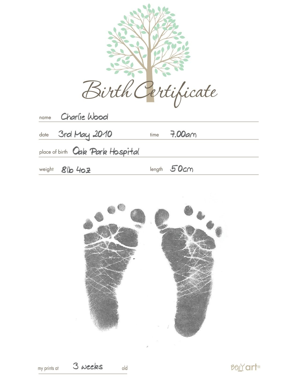 Belly Art Inkless Birth Certificate  Apostille Birth Certificate Within Baby Doll Birth Certificate Template