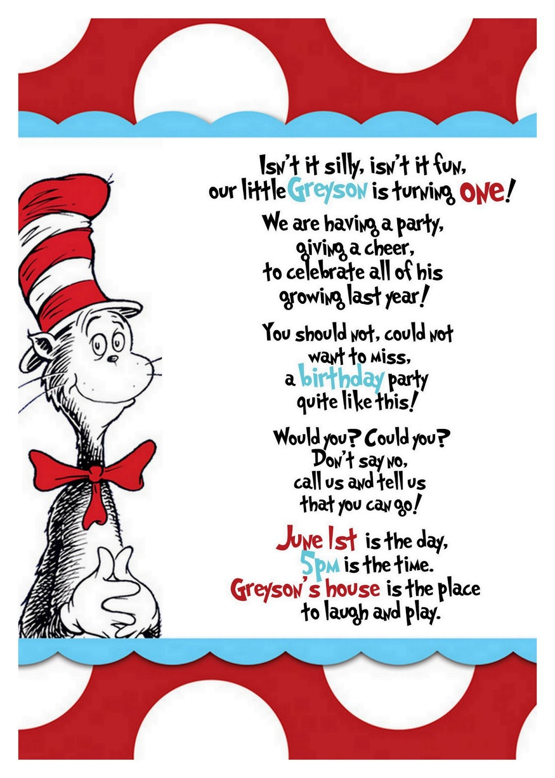 Best Dr Seuss Border   Clipartion Intended For Dr Seuss Birthday Card Template