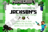 Best Images Of Minecraft Party Invitation Printable Template inside Minecraft Birthday Card Template