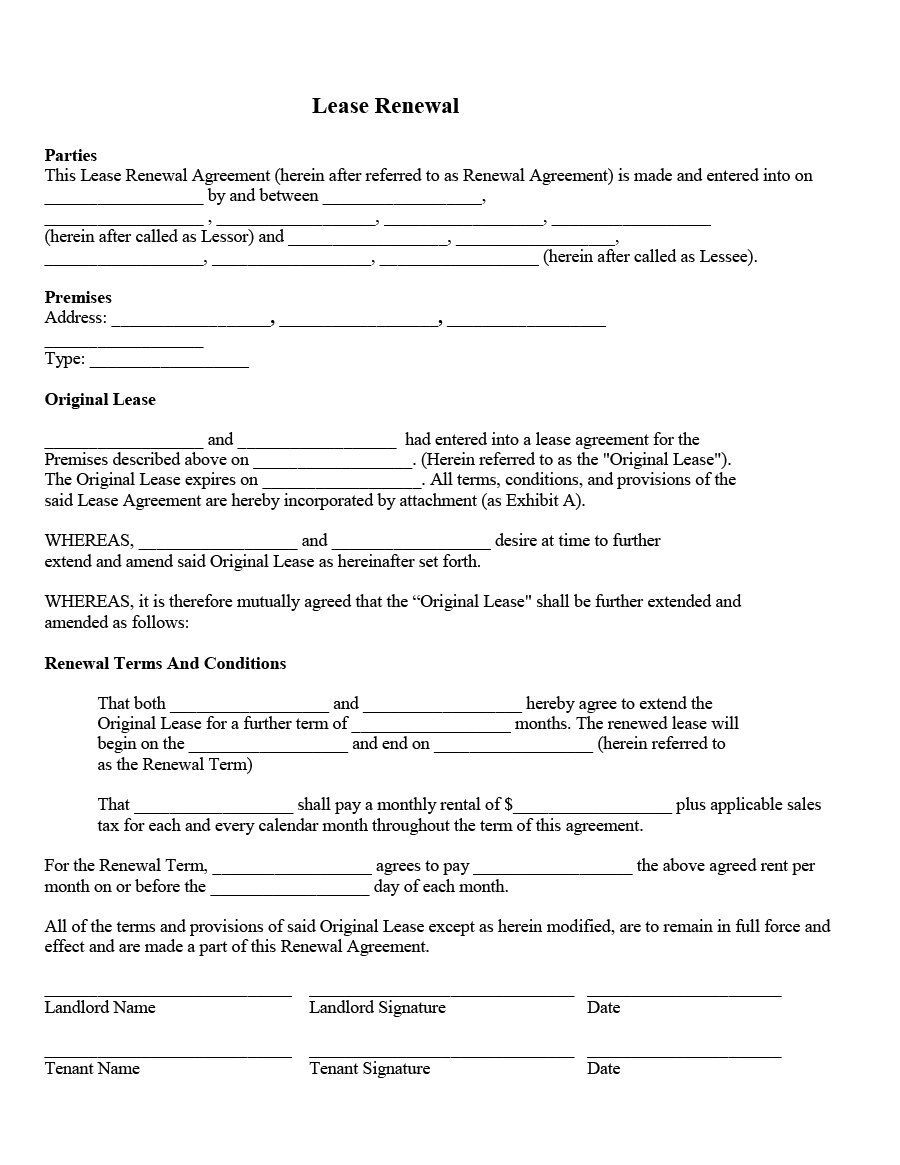 Best Lease Renewal Letters  Forms Word  Pdf ᐅ Template Lab Intended For Renewal Of Tenancy Agreement Template