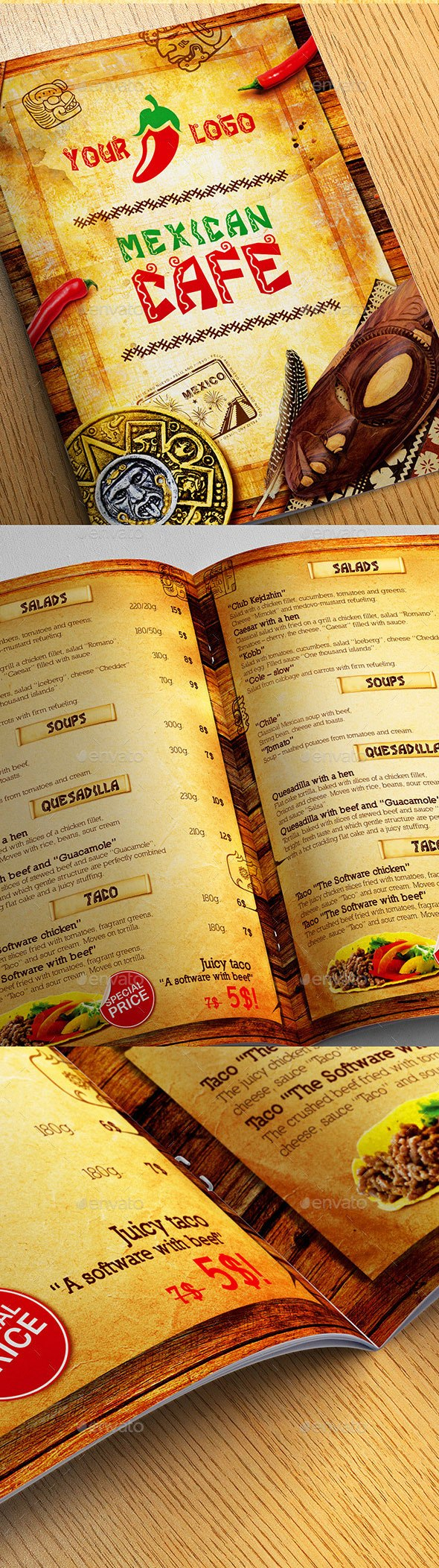 Best Selling Mexican Style Restaurant Menu Templates Within Mexican Menu Template Free Download