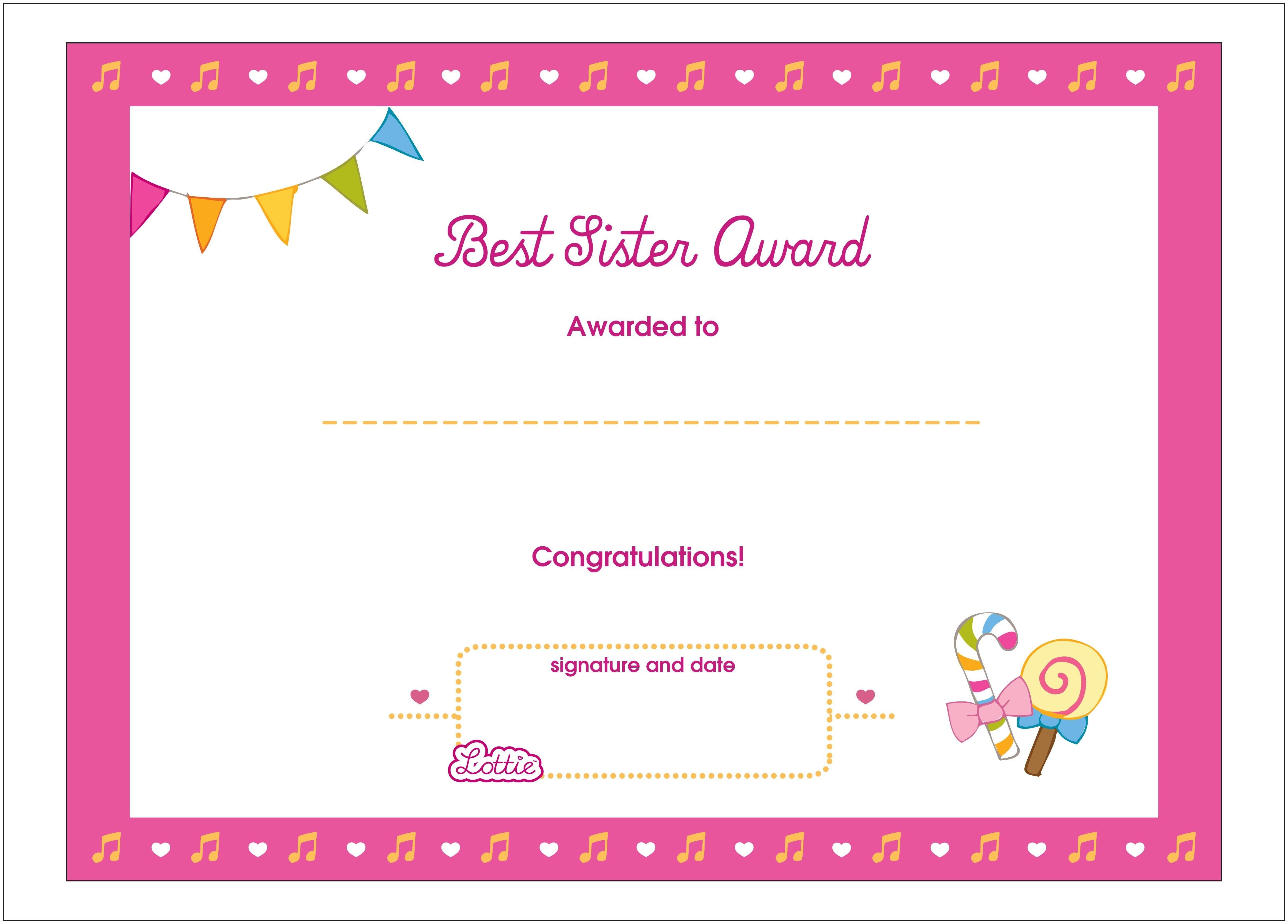 Best Sister Printable Award Certificate – Lottie Dolls In Free Printable Certificate Templates For Kids