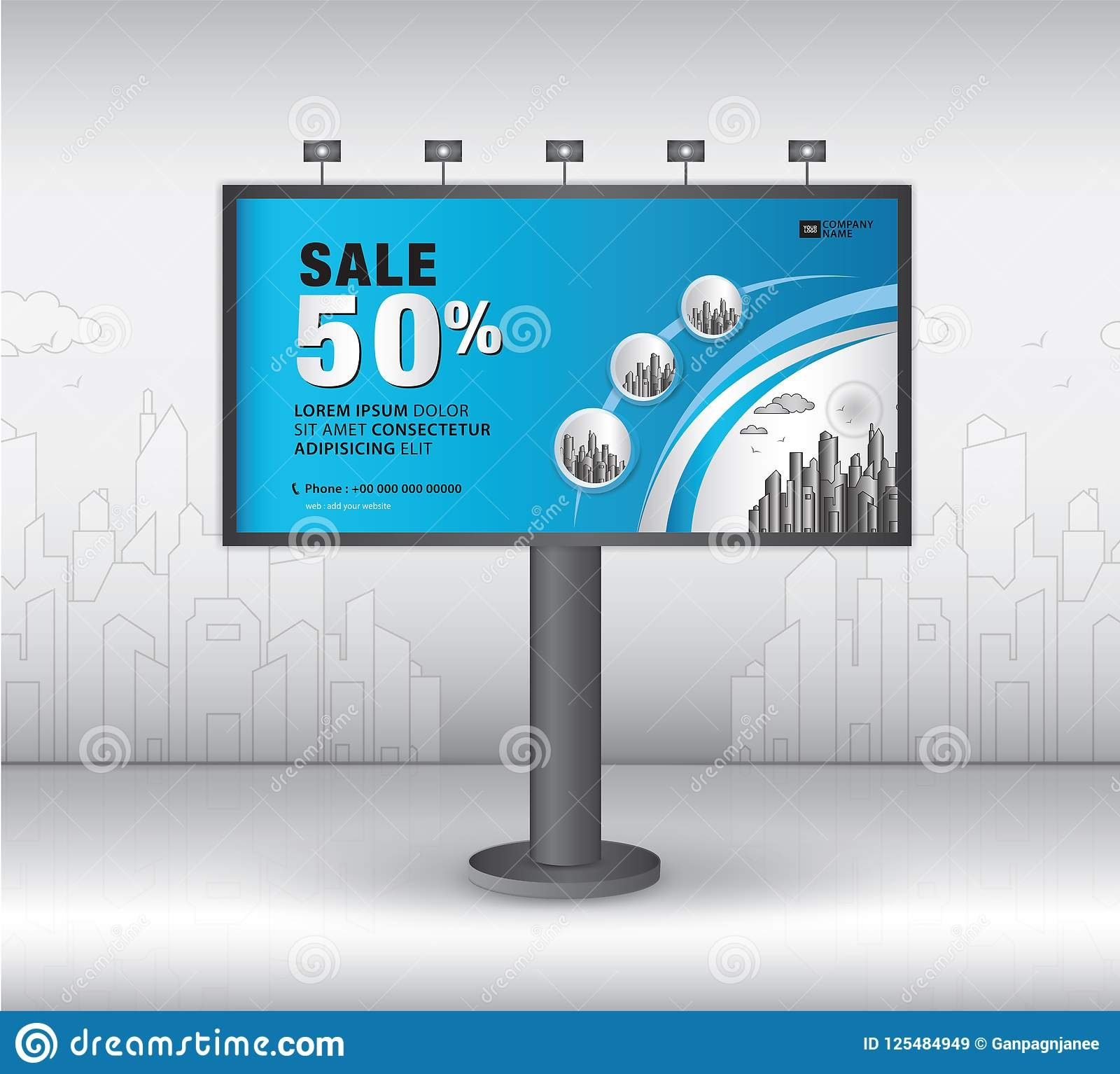 Billboard Banner Template Vector Design Advertisement Realistic Throughout Outdoor Banner Template