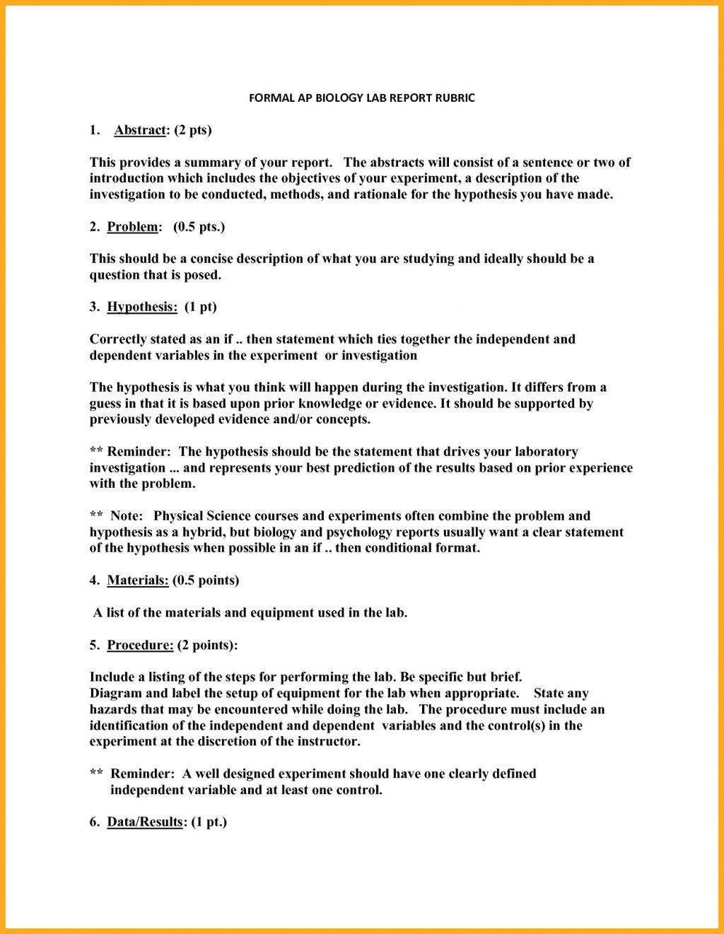 Biology Formal Lab Report Template Bio Sample Proper Format Ib With Regard To Biology Lab Report Template