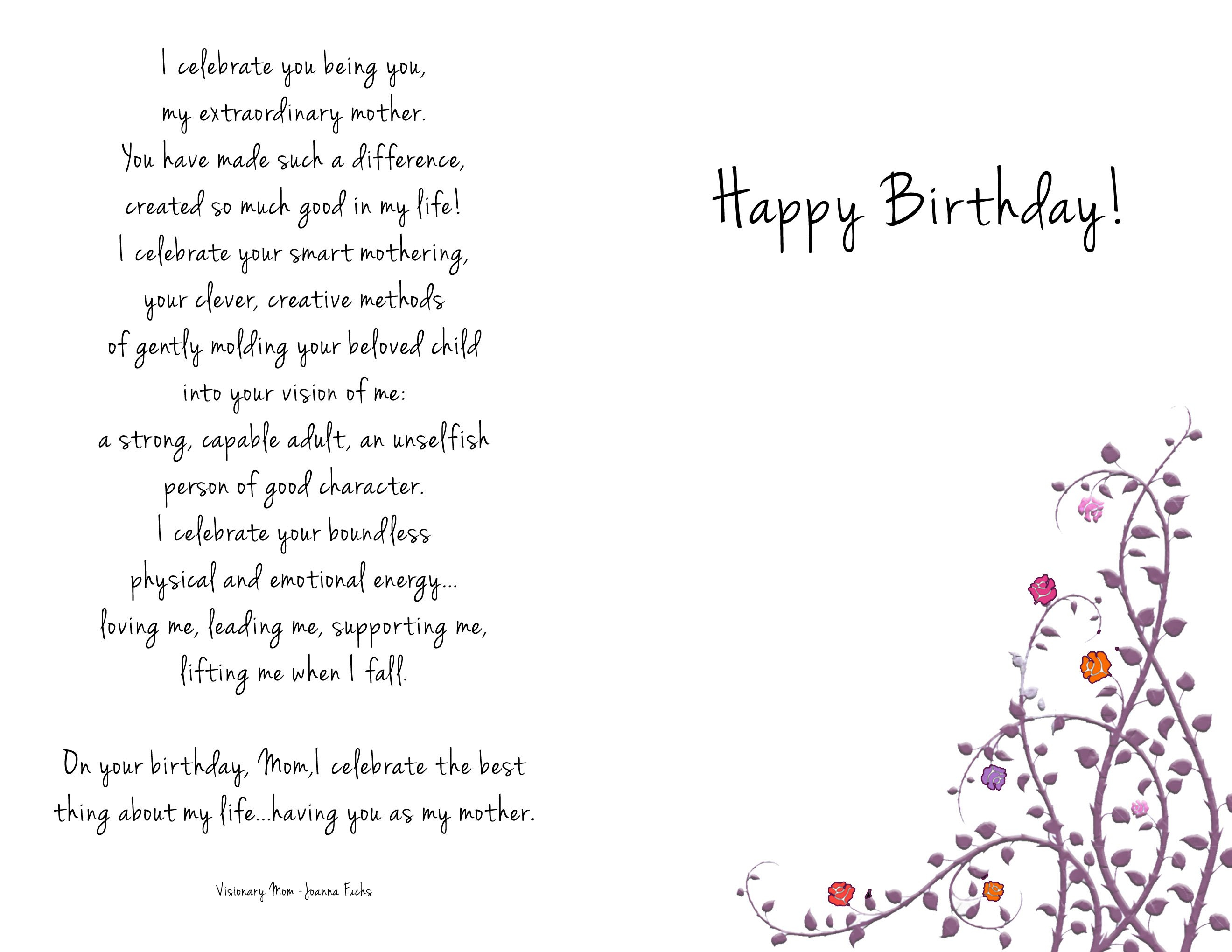 Birthday Cards For Mother To Be Who Passed Away Mom Template Online Throughout Mom Birthday Card Template