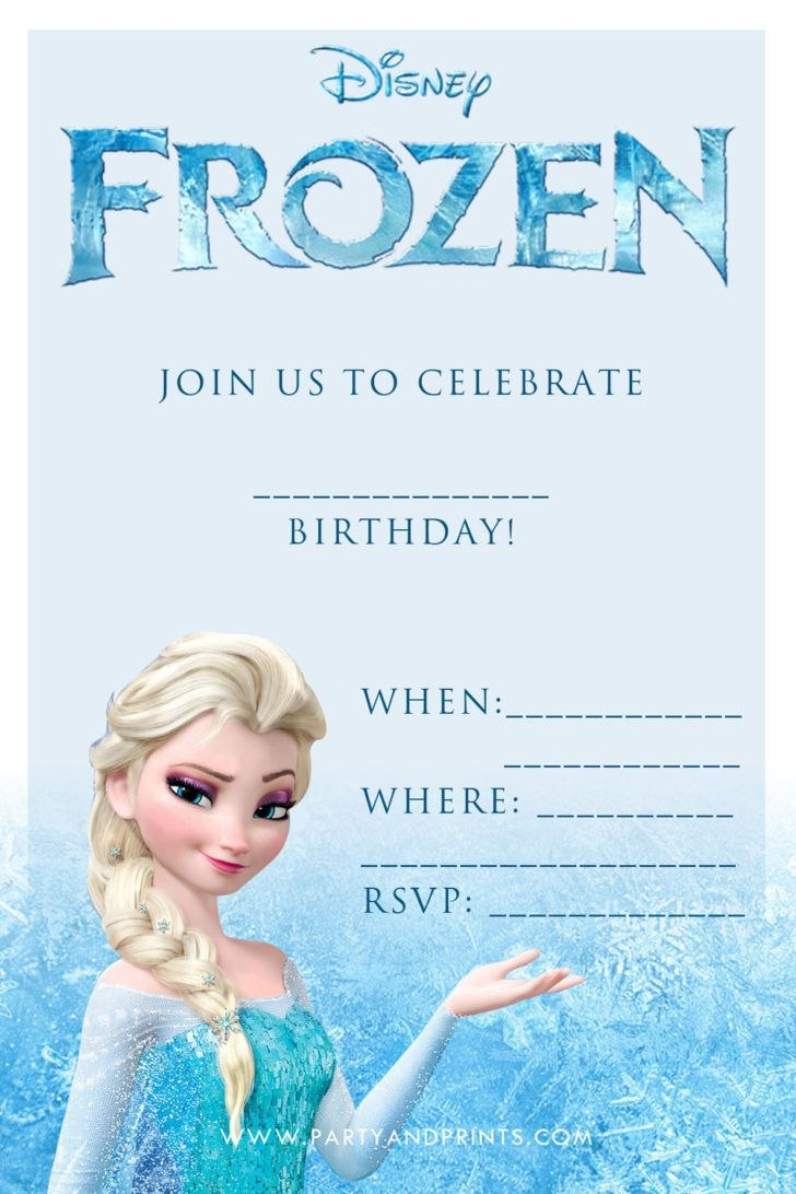 Birthday Disney Frozen Blank Birthday Party Invitation Template Intended For Frozen Birthday Card Template