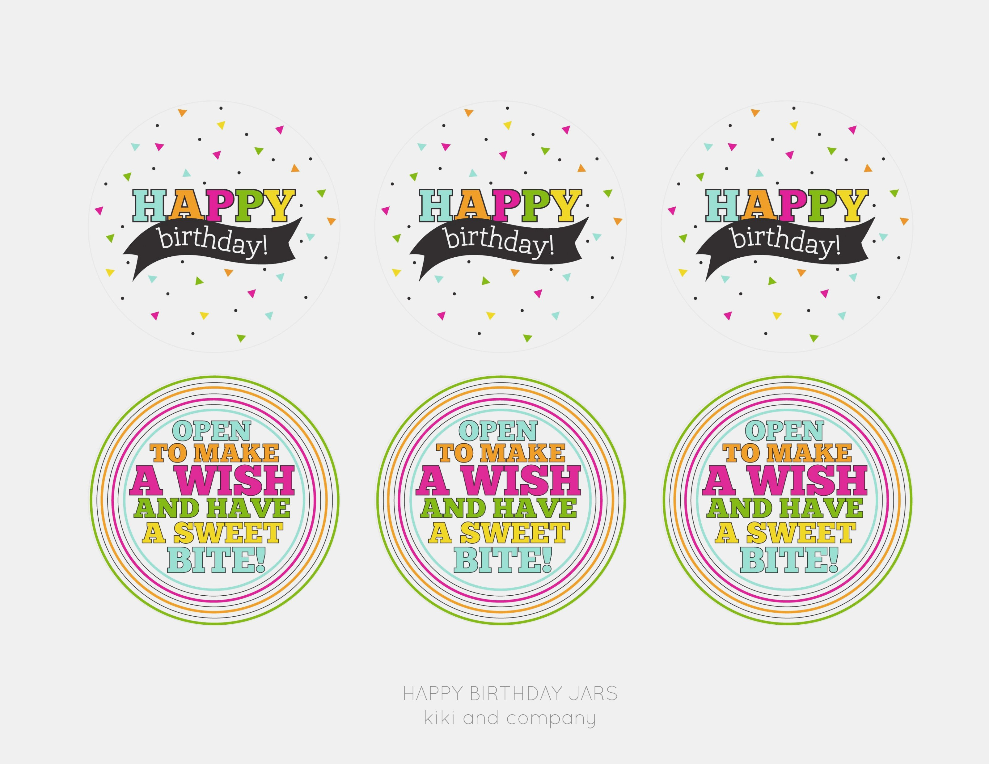 Birthday Labels Template New Happy Birthday Jar Free Printable Kiki With Birthday Labels Template Free