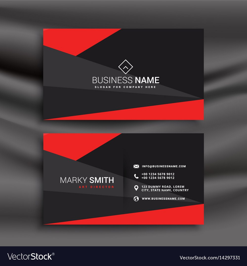 Black And Red Business Card Template With With Buisness Card Templates
