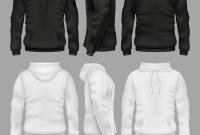 Black And White Blank Sweatshirt Hoodie Royalty Free Vector regarding Blank Black Hoodie Template