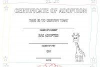 Blank Adoption Certificate  Sansurabionetassociats pertaining to Blank Adoption Certificate Template