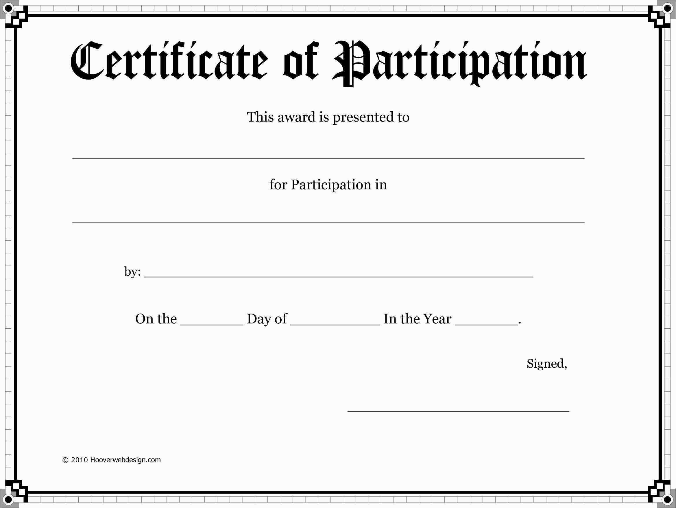 Blank Award Certificate Templates  Participation  Cookie  Blank Pertaining To Certificate Of Participation Template Pdf