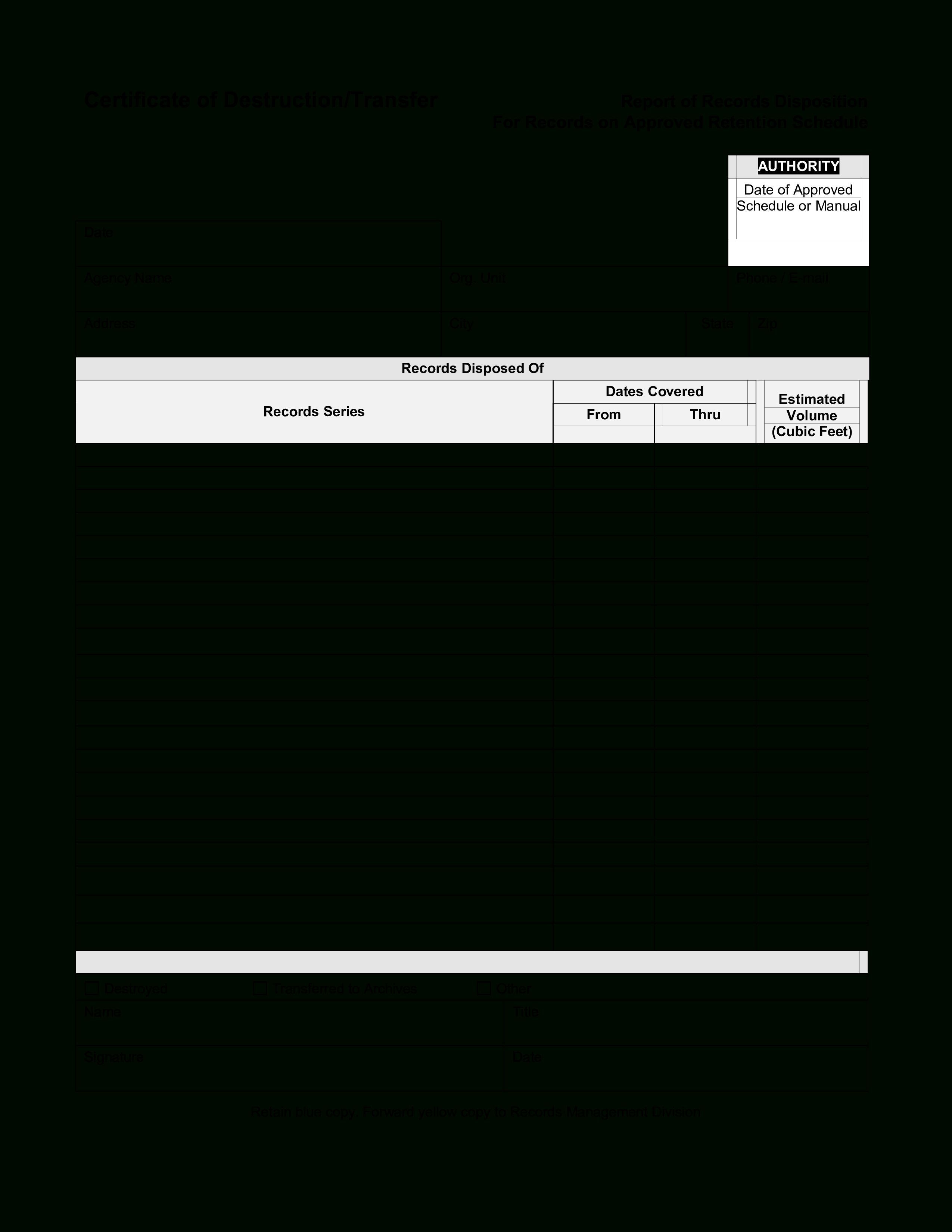 Blank Certificate Of Destruction  Templates At Allbusinesstemplates Throughout Free Certificate Of Destruction Template