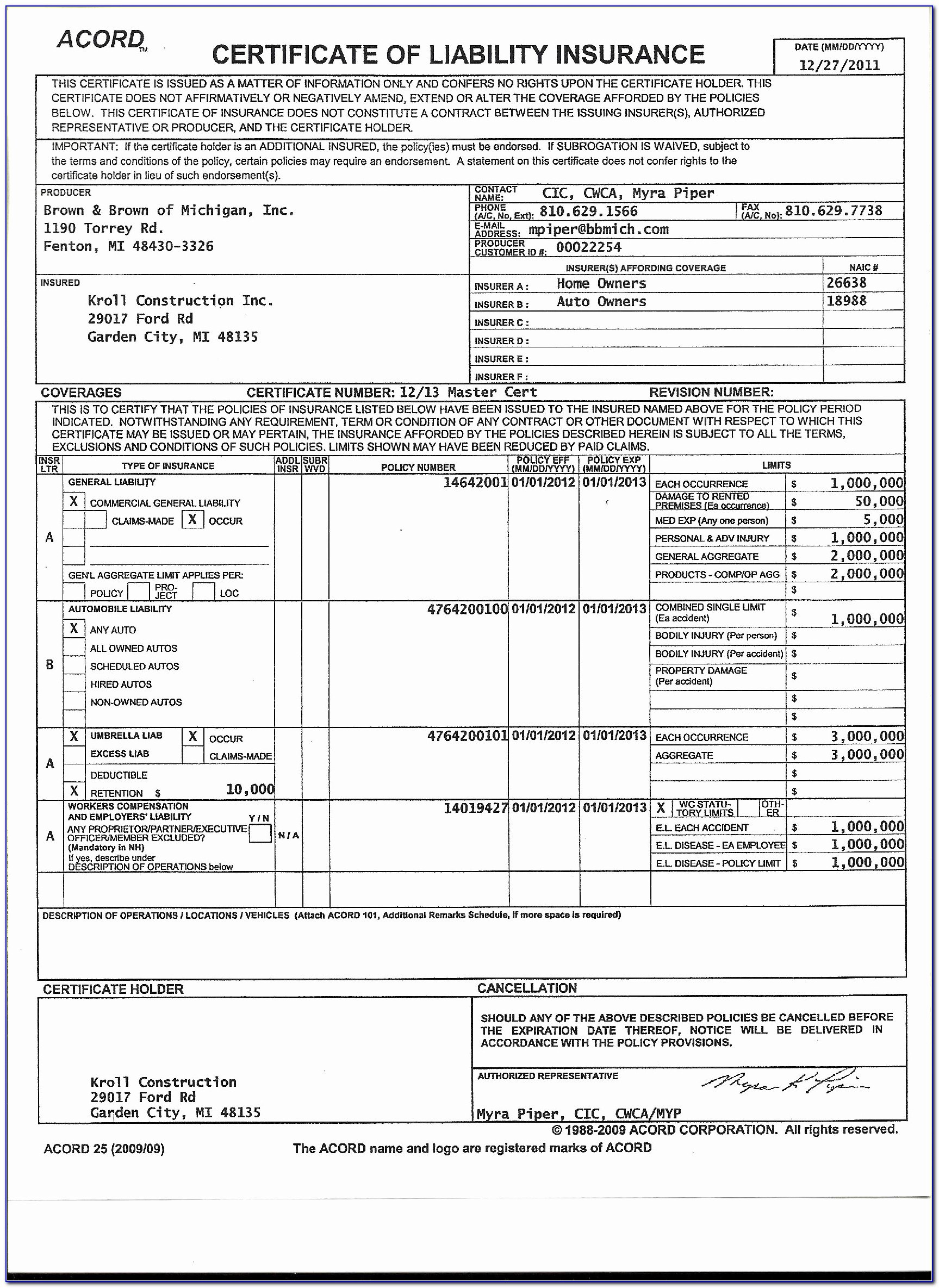 Blank Certificate Of Insurance Awesome Blank Certificate Insurance In Acord Insurance Certificate Template