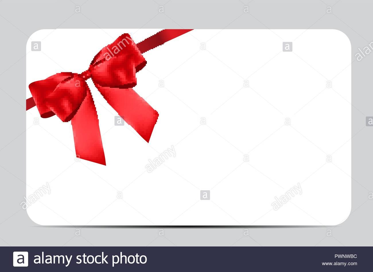 Blank Gift Card Template With Red Bow And Ribbon Vector With Regard To Present Card Template