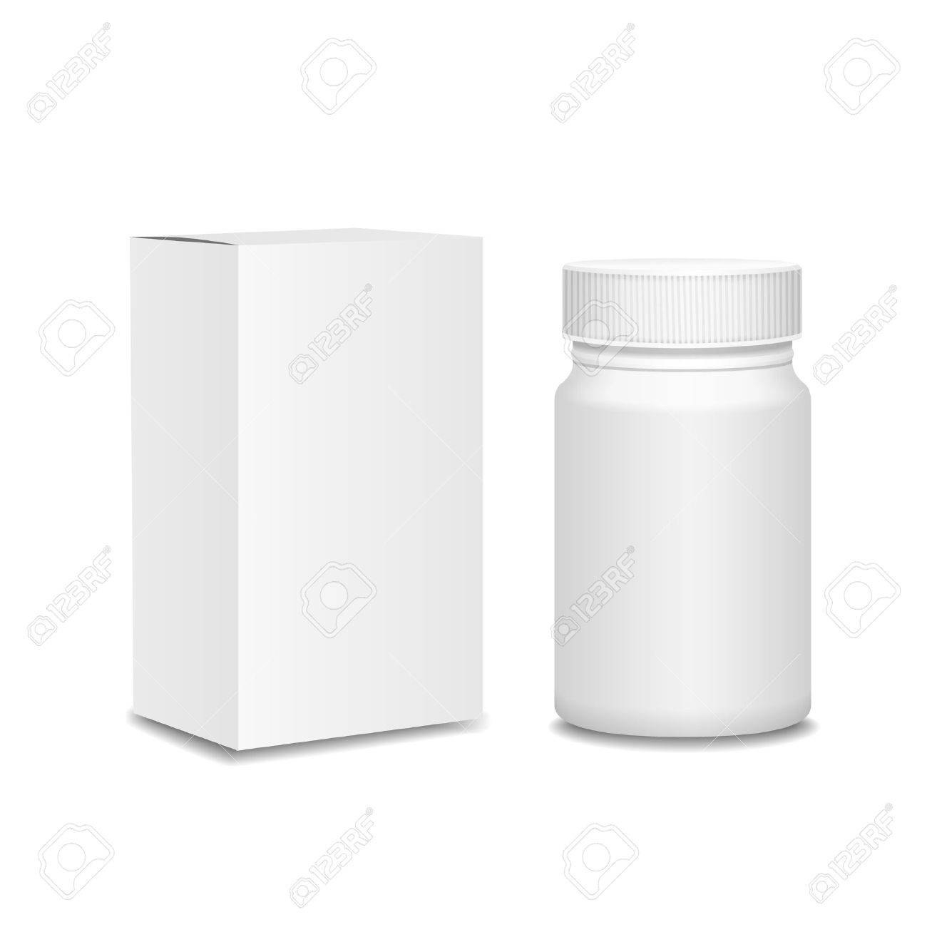 Blank Medicine Bottle And Cardboard Packaging Vitamins Examples Inside Blank Packaging Templates