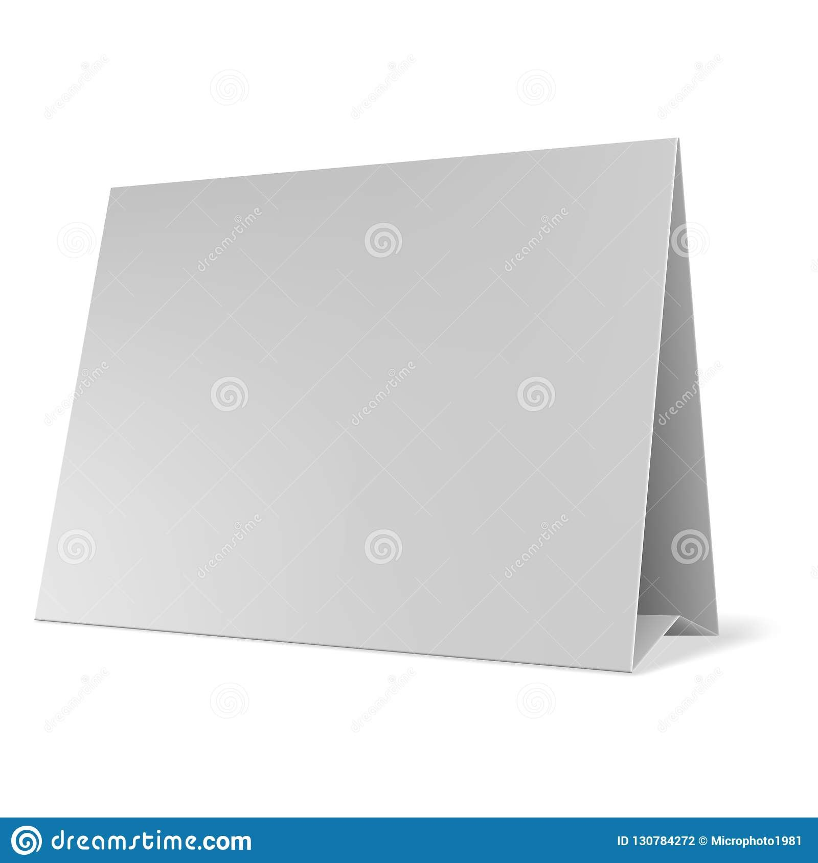 Blank Paper Table Cards Vector Blank Table Tent Isolated On Grey Throughout Card Stand Template
