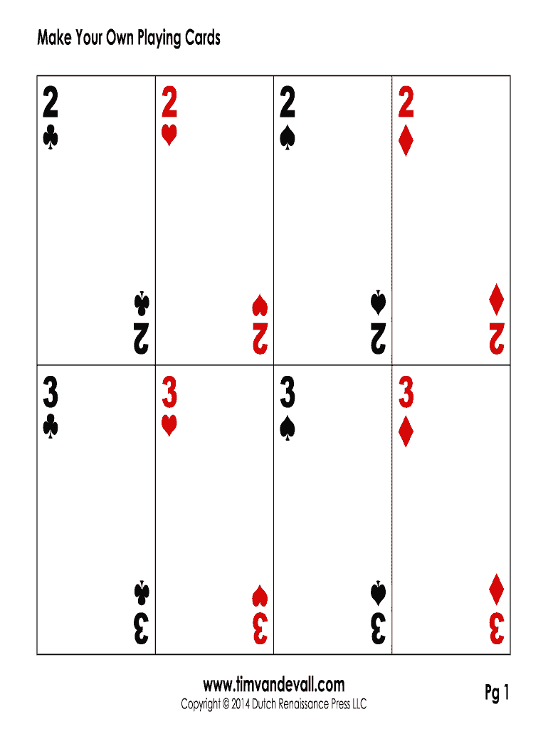 Blank Playing Card Template Pdf  Fill Online Printable Fillable Regarding Custom Playing Card Template