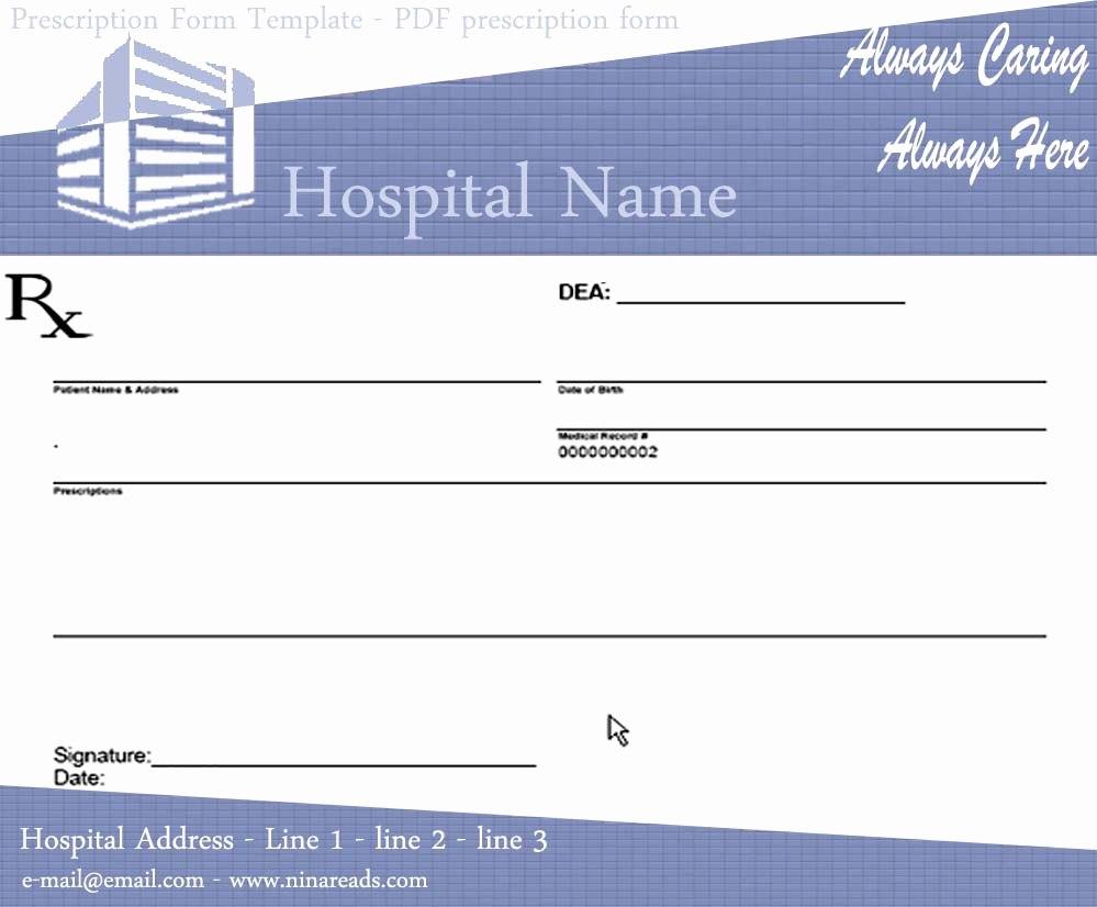 Blank Prescription Form Pdf Downloads – Wfacca Regarding Blank Prescription Form Template