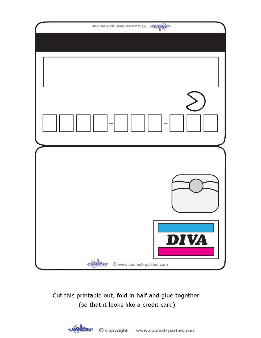 Blank Printable Diva Credit Card Invitations  Coolest Free Throughout Credit Card Template For Kids
