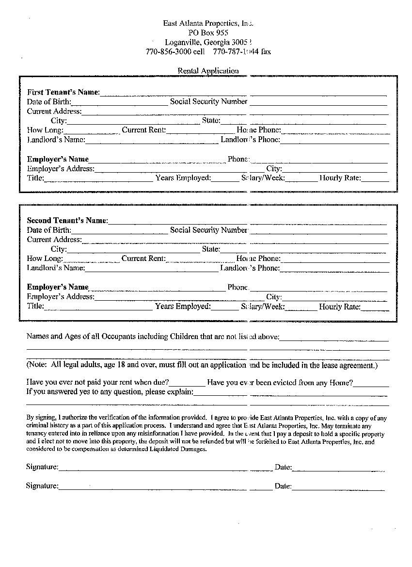 Blank Residential Rental And Lease Agreement Template For Tenants In Free Printable Residential Lease Agreement Template