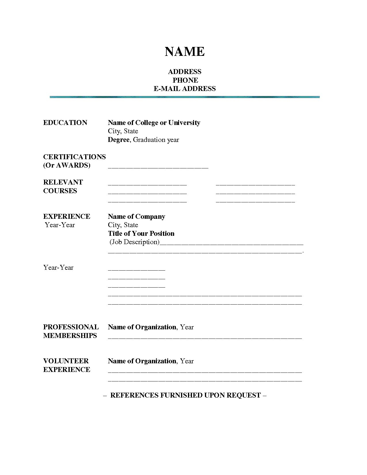 Blank Resume Form Template Best Template Collection Olzwb Within Blank Resume Templates For Microsoft Word
