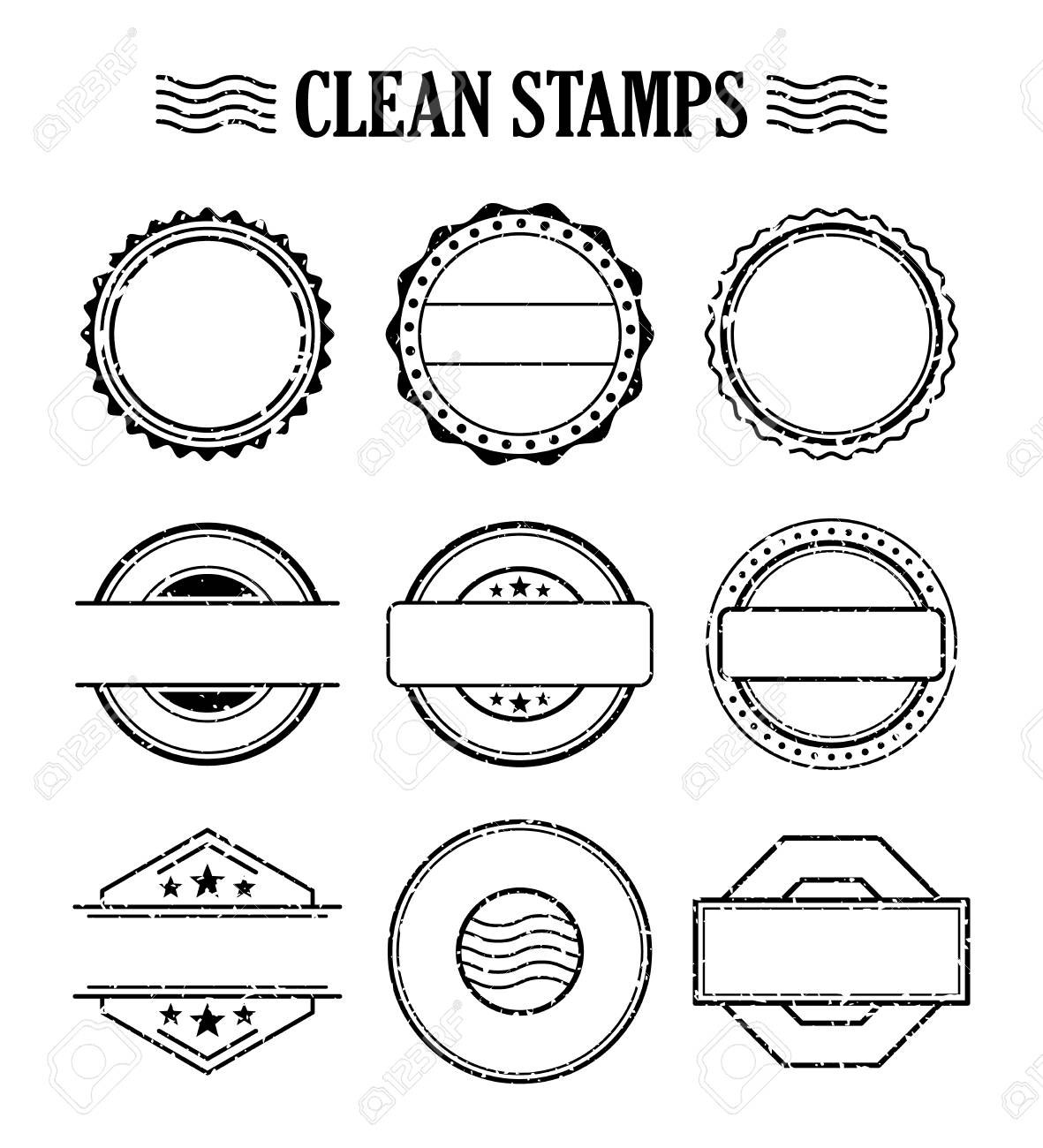 Blank Stamp Set Ink Rubber Seal Texture Effect Postage And Within Blank Seal Template