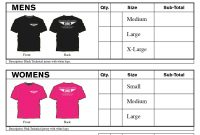 Blank T Shirt Order Form Template Word  Glendale Community with regard to Blank T Shirt Order Form Template
