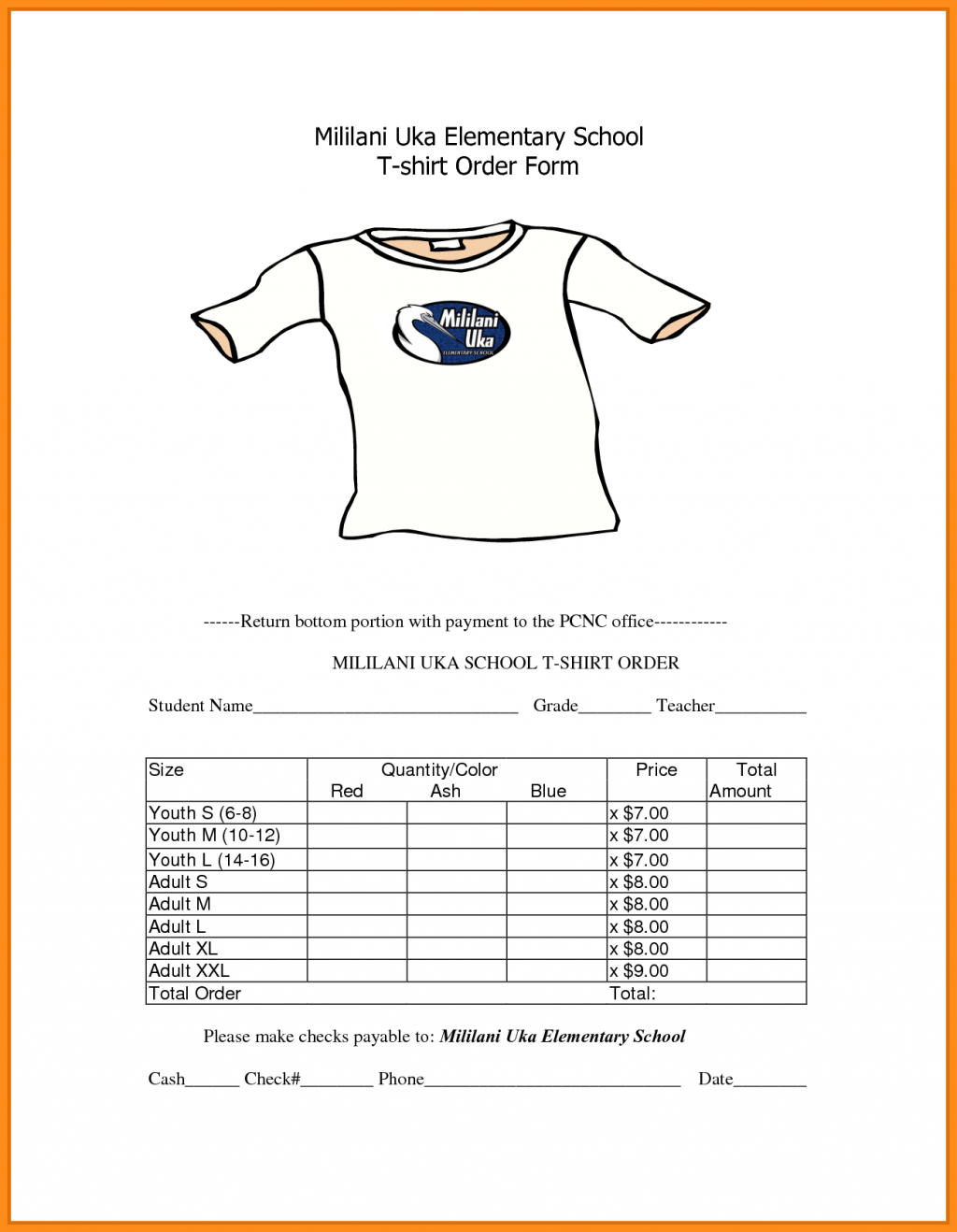 Blank Tshirt Template Printable « Alzheimer's Network Of Oregon For Blank T Shirt Order Form Template