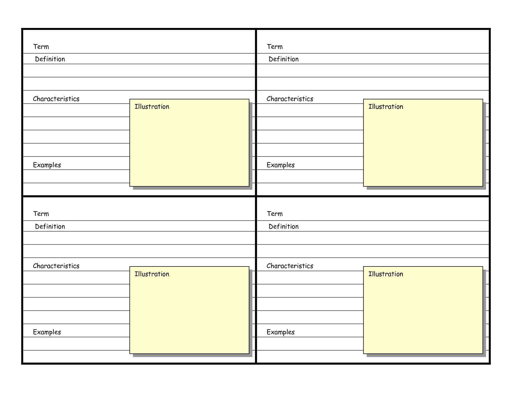 Blank Vocabulary Card Template  Frayer Models  Vocabulary Cards With Regard To Blank Index Card Template