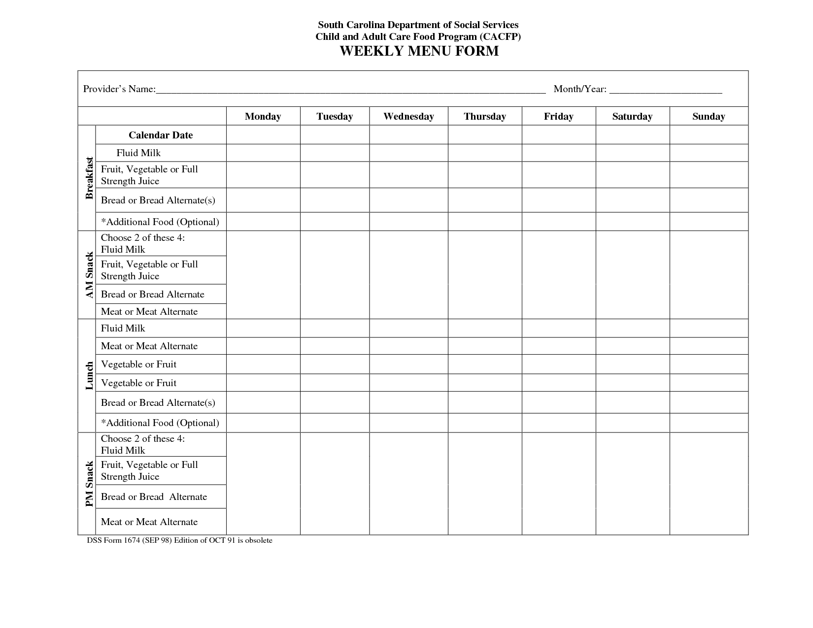 Blank Weekly Menu Calendar  Little Hands Recipes In   Daycare For Daycare Menu Template