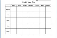 Blank Weekly Menu  Chart And Printable World pertaining to Weekly Menu Template Word