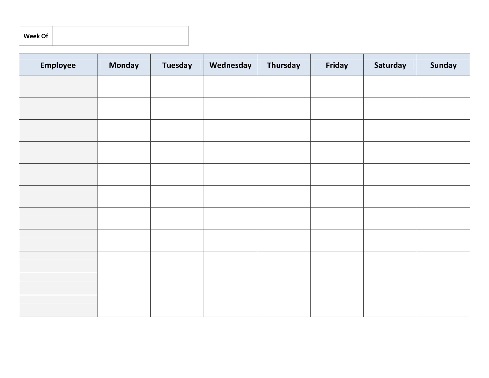 Blank Weekly Work Schedule Template  Schedule  Cleaning Schedule Intended For Blank Monthly Work Schedule Template