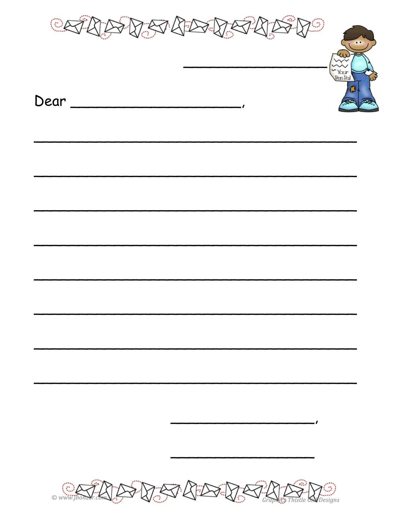 Blankfriendlylettertemplate  Letter Writing  Letter Writing Throughout Blank Letter Writing Template For Kids
