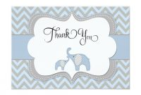 Blue Elephant Baby Shower Thank You Card  Zazzle  Baby Shower within Thank You Card Template For Baby Shower