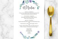 Blue Floral Wedding Food Menu Template  Wedding Menu Cards  Hands with regard to Bridal Shower Menu Template