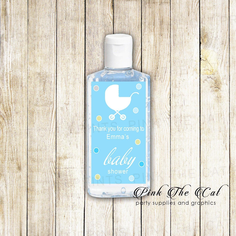 Blue Stroller Hand Sanitizer Labels Stroller Baby Shower  Etsy In Hand Sanitizer Label Template