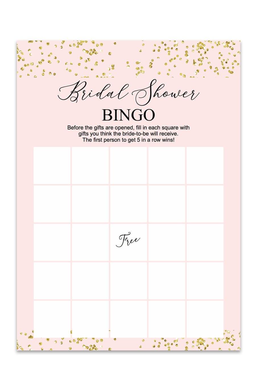 Blush And Confetti Bridal Shower Bingo  Chicfetti Throughout Blank Bridal Shower Bingo Template