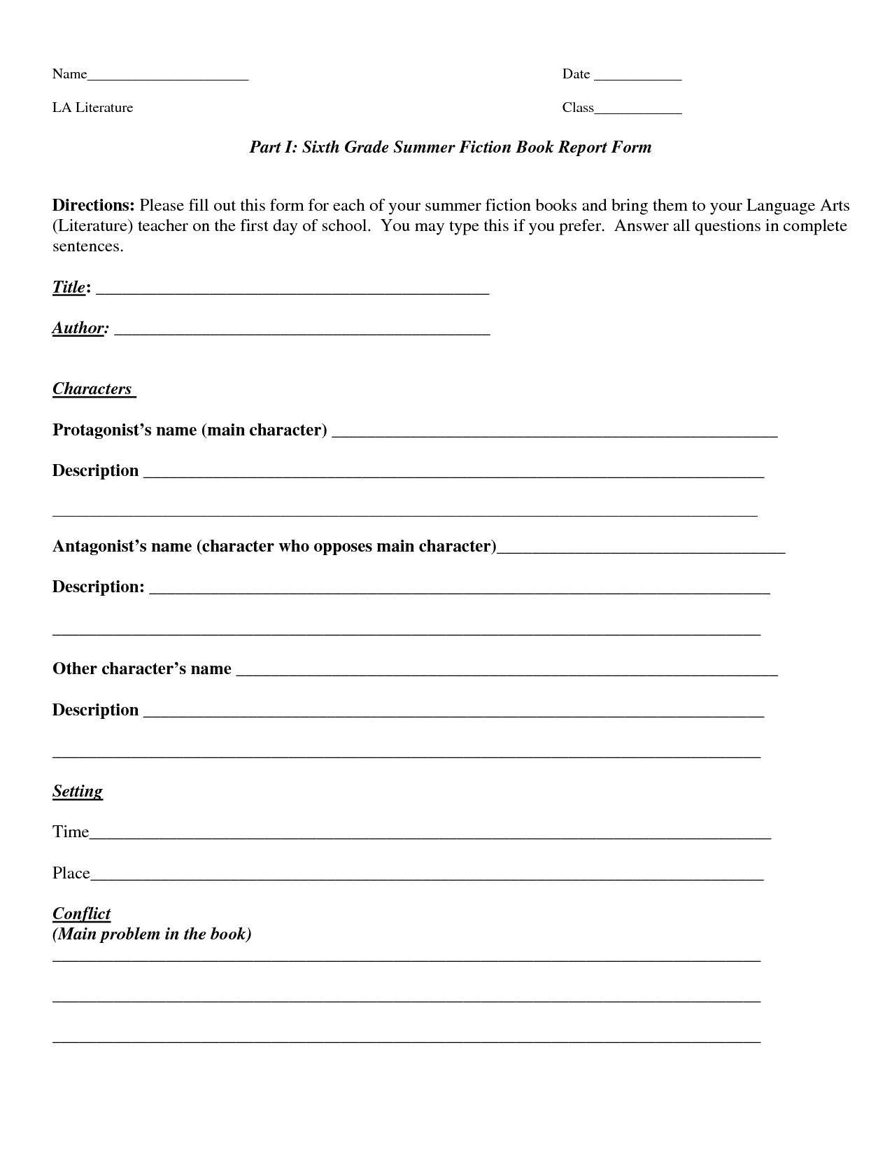 Book Report Template  Part I Sixth Grade Summer Fiction Book Report Inside Book Report Template Grade 1