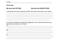 Book Report Template  Summer Book Report Th Th Grade  Download regarding Story Report Template