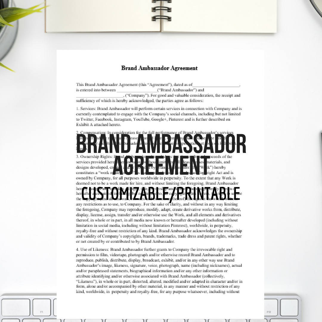 Brand Ambassador Agreement Easy To Customize Instant  Etsy For Brand Ambassador Agreement Template