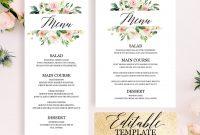 Bridal Shower Menu Template Editable Printable Blush Pink  Etsy intended for Bridal Shower Menu Template