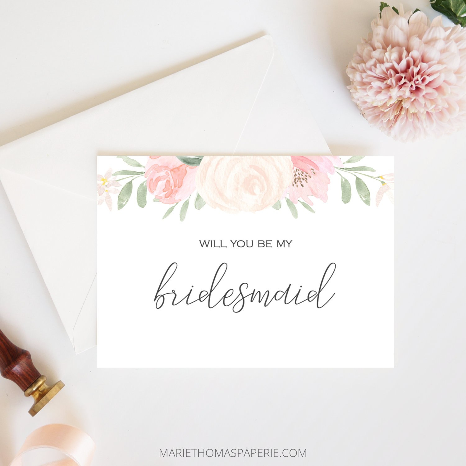 Bridesmaid Proposal Card Printable Will You Be My Bridesmaid  Etsy For Will You Be My Bridesmaid Card Template