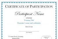 Brilliant Ideas For Conference Participation Certificate Template On for Conference Participation Certificate Template