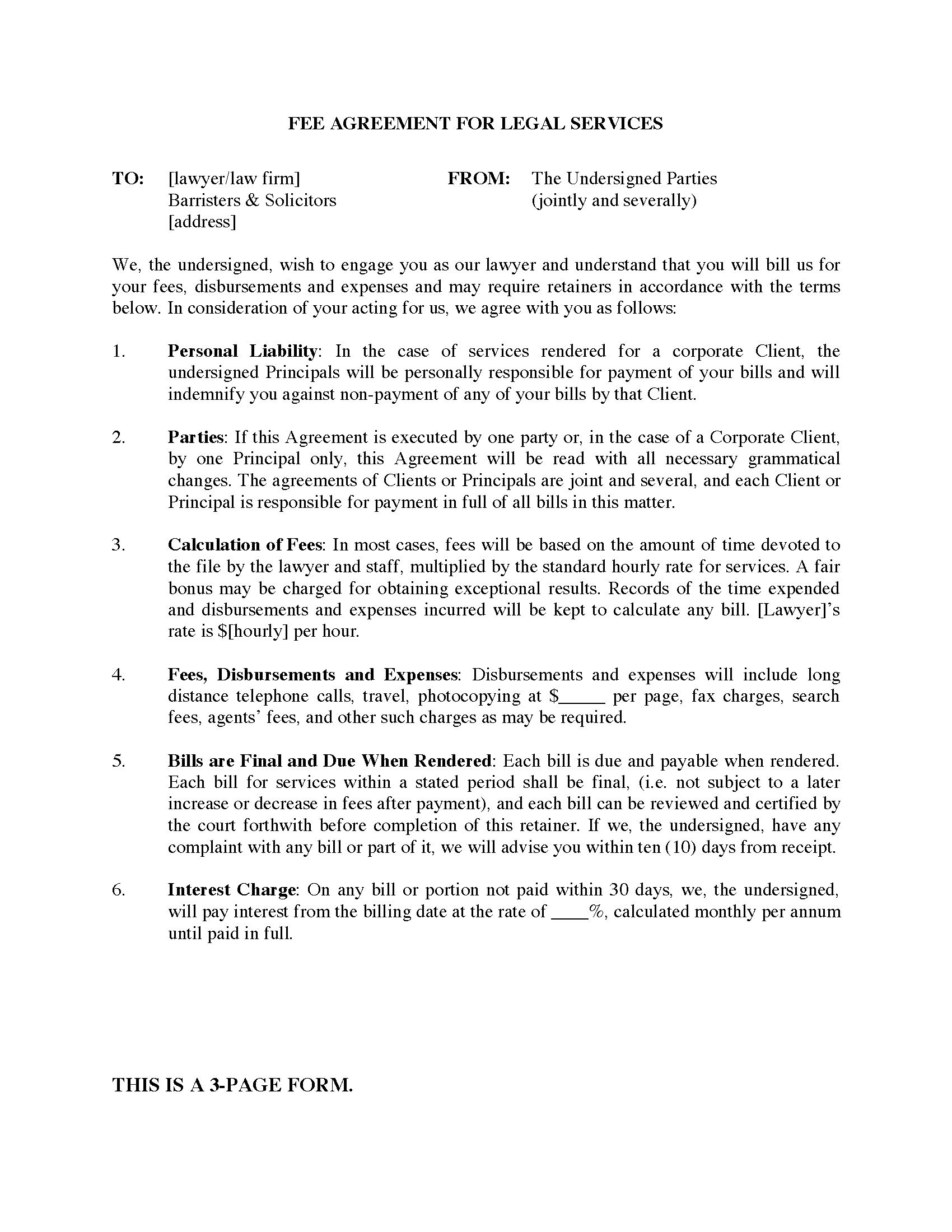 British Columbia Fee Agreement Between Lawyer And Client  Legal Intended For Contingency Fee Agreement Template