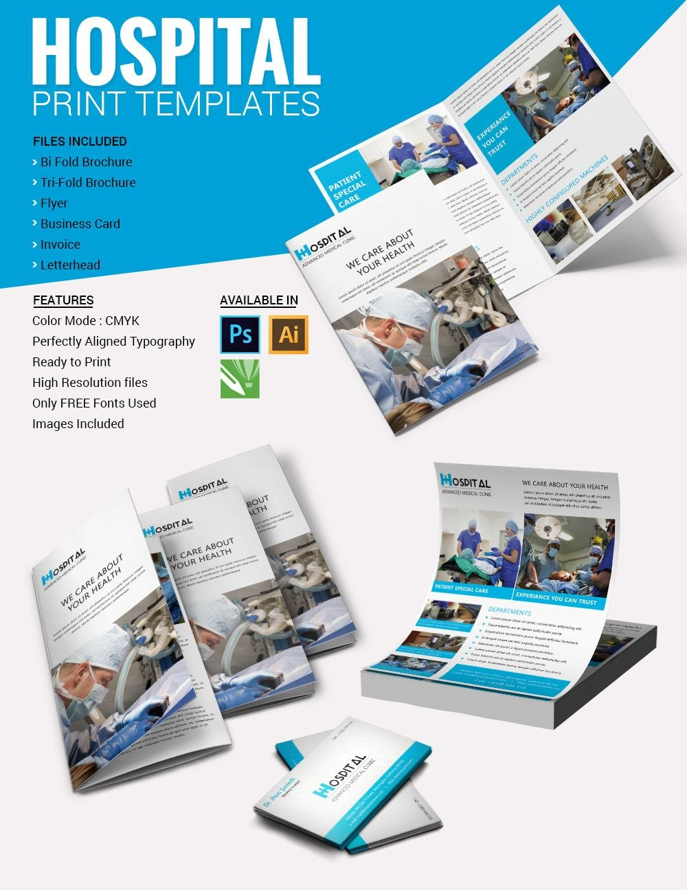 Brochura De Modelos Hospitalares  Impressos  Papelaria  Indesign Within Healthcare Brochure Templates Free Download